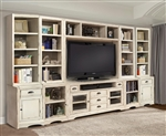 Nantucket 10 Piece 63-Inch TV Console Modular Bookcase Home Entertainment Library Wall in Vintage Burnished Artisan White Finish by Parker House - NAN-912-10