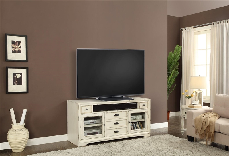Nantucket 63 Inch Tv Console In Vintage Burnished Artisan White Finish By Parker House Nan 912