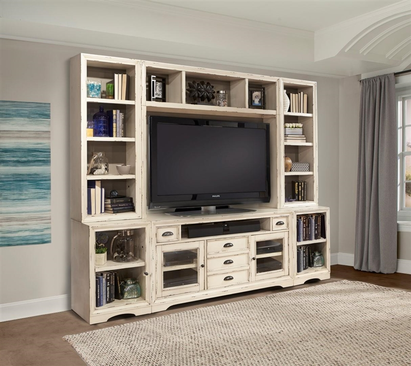 Nantucket 6 Piece 63 Inch Tv Console Modular Bookcase Home Entertainment Library Wall In Vintage