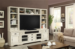 Nantucket 6 Piece 63-Inch TV Console Modular Bookcase Home Entertainment Library Wall in Vintage Burnished Artisan White Finish by Parker House - NAN-912-6D