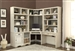 Nantucket Corner Desk 7 Piece Modular Corner Bookcase Home Office Library Wall in Vintage Burnished Artisan White Finish by Parker House - NAN-970-7