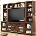 Napa 6 Piece 63-Inch TV Console Modular Bookcase Home Entertainment Library Wall in Bourbon Finish by Parker House - NAP-912-6