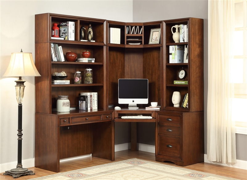 Napa Corner Desk 6 Piece Modular Corner Bookcase Home Office Library Wall  In Bourbon Finish By ...