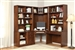 Napa Corner Desk 7 Piece Modular Corner Bookcase Home Office Library Wall in Bourbon Finish by Parker House - NAP-970-7