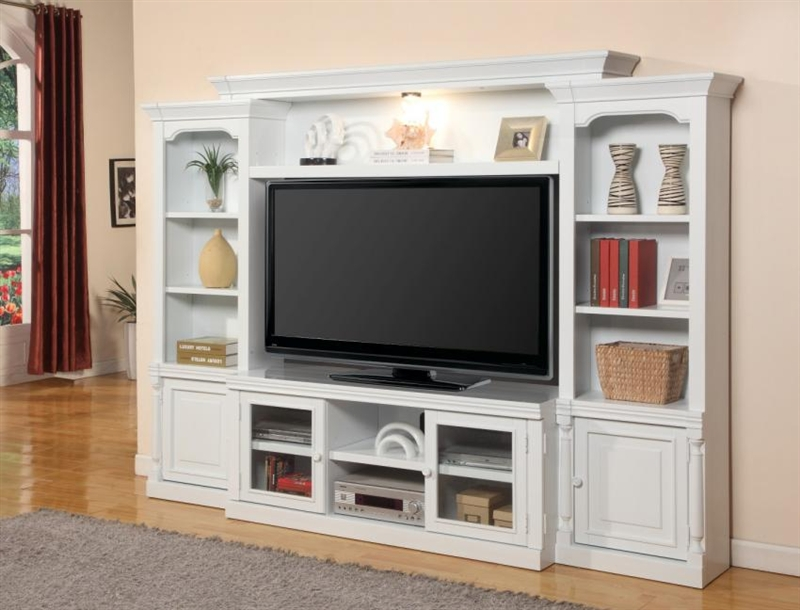 alpine 57-inch tv 4 piece premier wall unit in cottage white