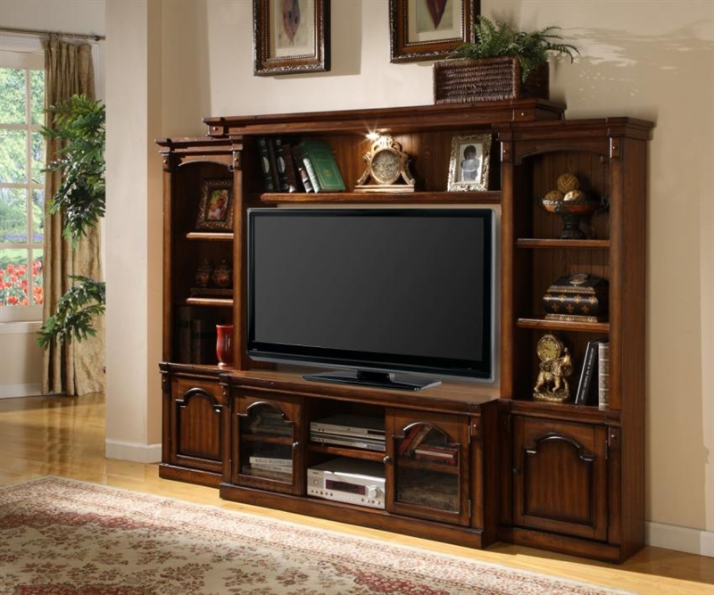 Aspen 57 Inch TV 4 Piece Premier Wall Unit In Antique Vintage Oak Finish By  Parker House ...