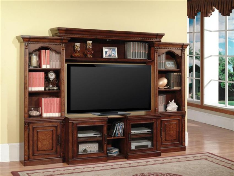 Athens 43 60 Inch TV 4 Piece Expendable Premier Wall Unit In Antique Light  Vintage Chocolate Finish By Parker House   PAT 100 4X