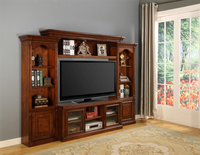 Athens 57 Inch TV 4 Piece Premier Wall Unit In Antique Light Vintage  Chocolate Finish By Parker House   PAT 101 4