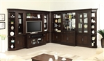 Stanford 11 Piece Entertainment Bookcase Bar Library Wall in Light Vintage Sherry Finish by Parker House - STA-405-11