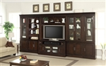 Stanford 6 Piece Entertainment Bookcase Library Wall in Light Vintage Sherry Finish by Parker House - STA-440-06TV