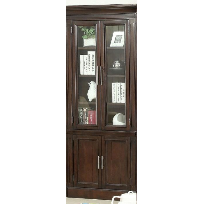 Stanford 32 Inch Glass Door Cabinet In Light Vintage Sherry Finish