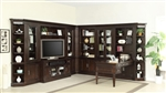 Stanford 11 Piece Entertainment Bookcase Peninsula Desk Wall in Light Vintage Sherry Finish by Parker House - STA-490-11