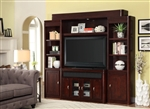 Toronto 4 Piece 50 Inch Console Entertainment Wall in Cabernet Finish by Parker House - TOR-150-4