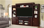 Toronto 4 Piece 72 Inch Console Entertainment Wall in Cabernet Finish by Parker House - TOR-172-4