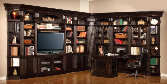 Superior Venezia 13 Piece 50 Inch TV Console Bookcase Entertainment Library Wall In  Vintage Burnished Black Finish By Parker House ...