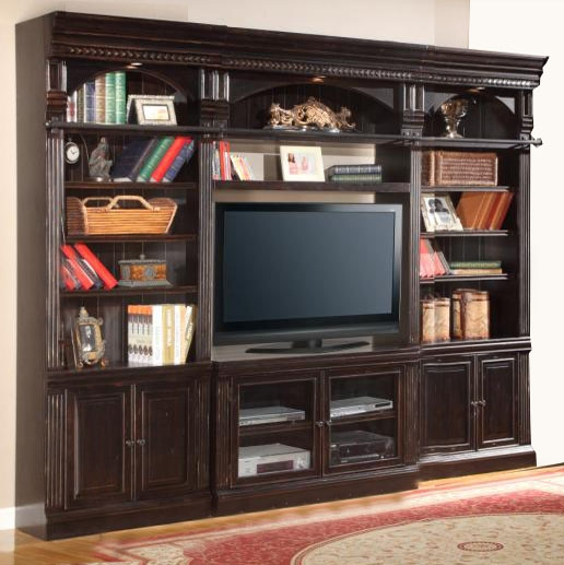 Amazing Venezia 4 Piece 50 Inch TV Console Bookcase Entertainment Library Wall In  Vintage Burnished Black Finish By Parker House ...