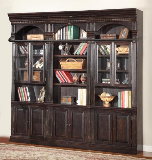 Good Venezia 3 Piece Bookcase Library Wall In Vintage Burnished Black Finish By Parker  House   VEN 420 3
