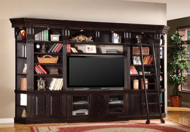 Venezia 4 Piece Bookcase Library Wall with Library Desk in Vintage  Burnished Black Finish by Parker House - VEN-460-2-4 - Venezia 4 Piece Bookcase Library Wall With Library Desk In Vintage
