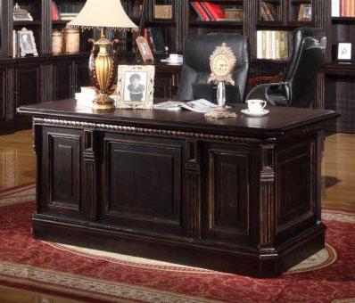 Venezia Double Pedestal Executive Desk In Vintage Burnished Black Finish By Parker House Ven 480 3