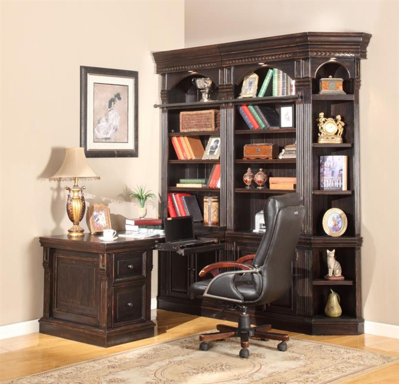 Venezia 5 Piece Peninsula Desk Bookcase Library Wall In Vintage Burnished Black Finish By Parker House
