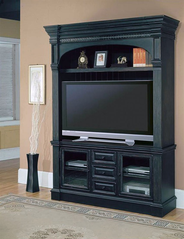 Superior 60 Tv Entertainment Center Part - 4: Venezia 60-Inch TV 3Pc Entertainment Center In Distressed Vintage Black  Finish By Parker House - VEN-600-3EC