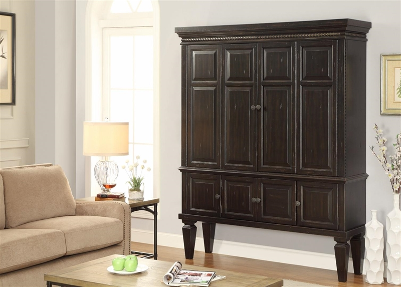 Venezia 65 Inch 2 Piece Entertainment Armoire In Vintage Burnished Black  Finish By Parker House ...