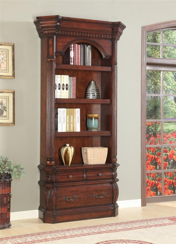 Versailles Museum Bookcase In Antique Vintage Dark Almond Finish By Parker House Ver 9030