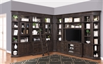 Washington Heights 11 Piece Entertainment Corner Bookcase Wall in Washed Charcoal Finish by Parker House - WAS-TV11