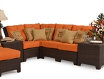 Kokomo 4 Piece Outdoor Sectional in Chocolate Tortoise Shell Finish by Palm Springs Rattan - 6301-SEC-4