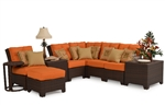 Kokomo 9 Piece Outdoor Sectional in Chocolate Tortoise Shell Finish by Palm Springs Rattan - 6301-SEC-9
