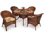 Hampton 5 Piece Round Dining Table Set in Pecan Glaze Finish by Palm Springs Rattan - 848GR-PG