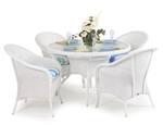 Hampton 5 Piece Round Dining Table Set in White Finish by Palm Springs Rattan - 848GR-W