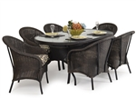 Hampton 7 Piece Oval Dining Table Set in Antique Black Finish by Palm Springs Rattan - 868G-AB