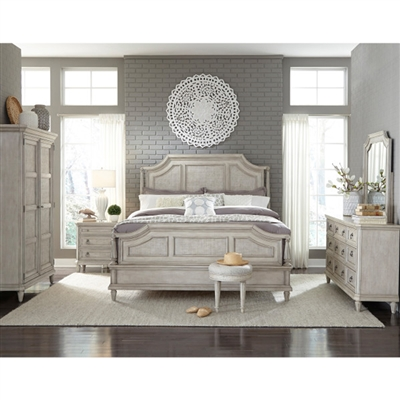 Campbell Street 6 Piece Bedroom Set in Antique Vanilla Cream Finish by Pulaski - PUL-P123150