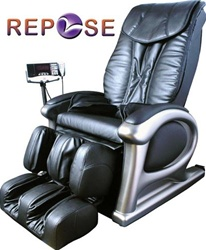 Repose R600 Massage Chair in Black or Brown Leather with Foot and Leg massage and MP3 Player - R600