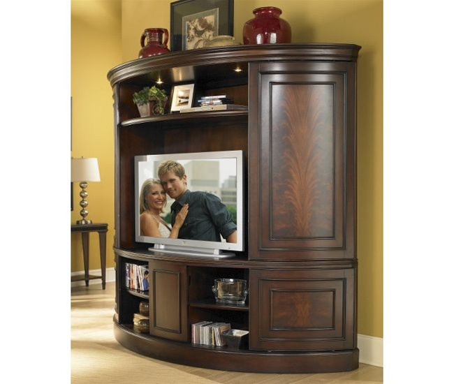 Merveilleux Affinity Curved Sliding Double Door TV Console With Deck In Cocoa Finish By  Riverside   12087