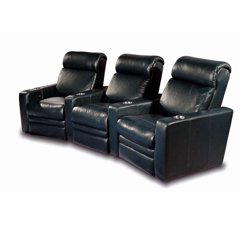 Ambador Black Top Grain Leather 3 Seat Curved Row Theater Seating By One Ro8007 3c 121l