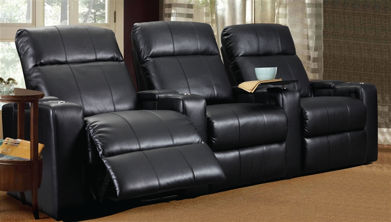 Plaza Black Leather Power Recliner With Tray By Row One   RO8013T 08P BLK