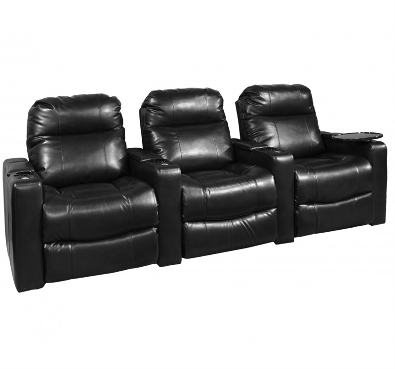 Majestic Black Bonded Leather 3 Seat Straight Row Theater Seating In 121sb By One