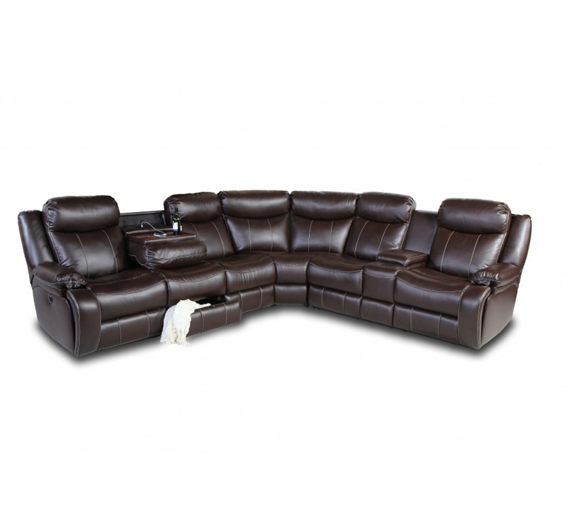 Fantastic Genesis Jamestown Brown Fabric Power Recline Sectional With Hide Away Cupholdersand Bluetooth Speaker System In 122F By Row One Ro8055 03P 122F Bralicious Painted Fabric Chair Ideas Braliciousco