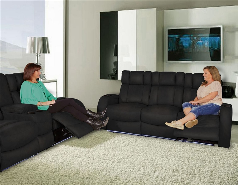 Andromeda Black Dura Gel Fabric 3 Seat Power Sofa With LED Lighted And  Storage Arms In 121G By Row One ...