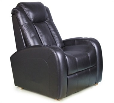 Gentil Bijou Black Leather Power Recliner With Optional Massage By Row One    RO8143 08P