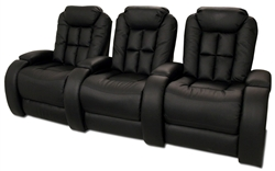 Almada Theater Seating - 3 Black Bonded Leather Chairs By SeatCraft 12027 - Power Recline