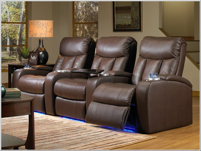 Verona Theater Seating - 3 Brown Leather Chairs By SeatCraft 841 - Power  Recline