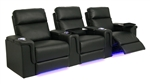 Palamino Theater Seating - 3 Black Leather Chairs By SeatCraft 846 - Power Recline