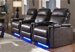 Palamino Theater Seating - 3 Brown Leather Chairs By SeatCraft 846 - Power Recline