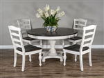 Carriage House 5 Piece Round Table Dining Room Set with Ladderback/Wood Seat Chair by Sunny Designs - SD-1014EC-1432EC
