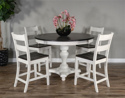 Carriage House 5 Piece Counter Height Dining Set with Ladderback/Wood Seat Barstool by Sunny Designs - SD-1014EC-36-1508EC-24