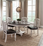 Bourbon County 5 Piece Dual Height Round Table Dining Set with Slatback/Cushion Seat Chair by Sunny Designs - SD-1014FC-1431FC-C