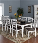 Bourbon County 7 Piece Dining Room Set with Ladderback/Wood Seat Chair by Sunny Designs - SD-1015FC-1432FC-W